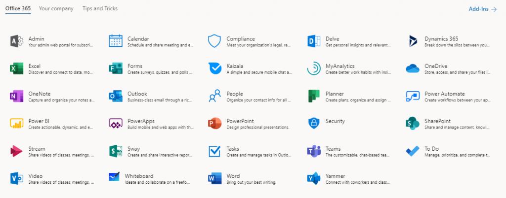 Office 365 zoznam aplikácií